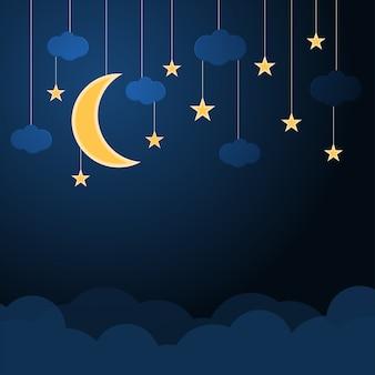 Colgante de media luna y estrella con nubes en un cielo azul nocturno