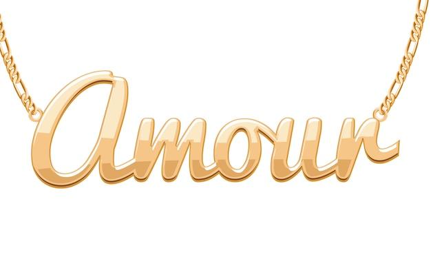 Colgante palabra amour dorado en collar de cadena. joyas.
