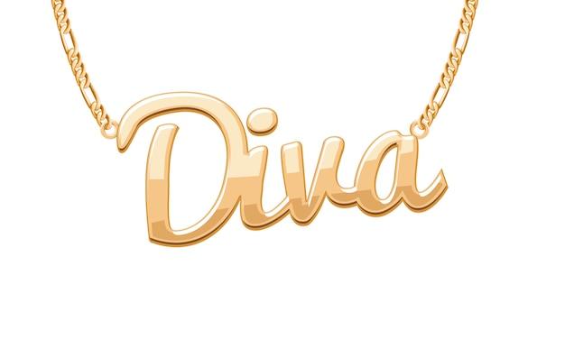 Colgante palabra diva dorada en collar de cadena. joyas.