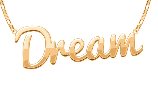 Colgante palabra dream dorada en collar de cadena. joyas.