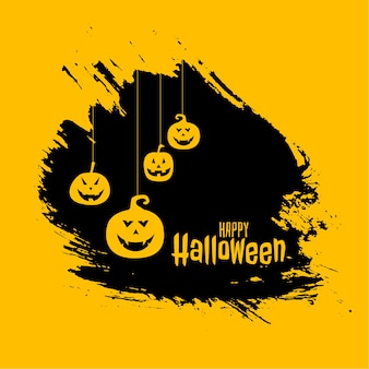 Colgar calabazas aterradoras en tarjeta de feliz halloween