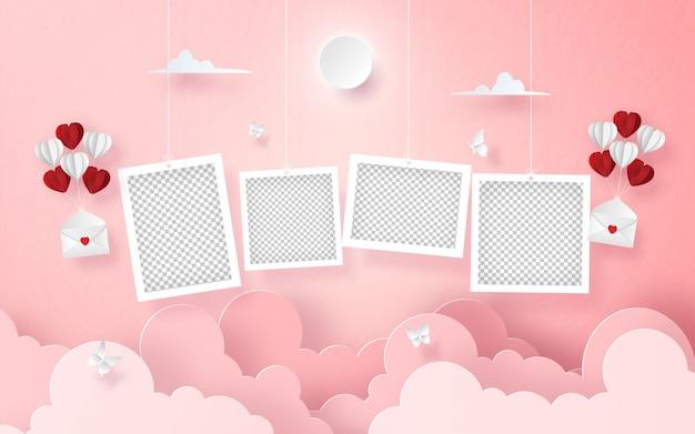 Colgar foto en blanco en el cielo con carta y globo