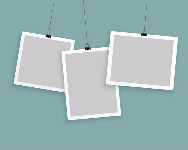 Colgar marcos de fotos en diferentes tamaños.