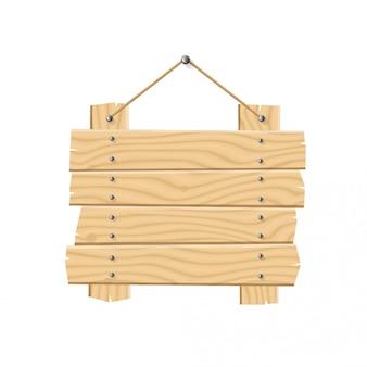 Colgar tablones de madera letrero con cuerda