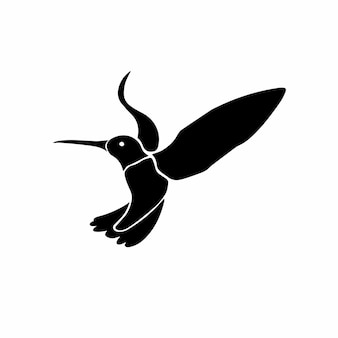 Colibri logo tattoo design stencil ilustración vector
