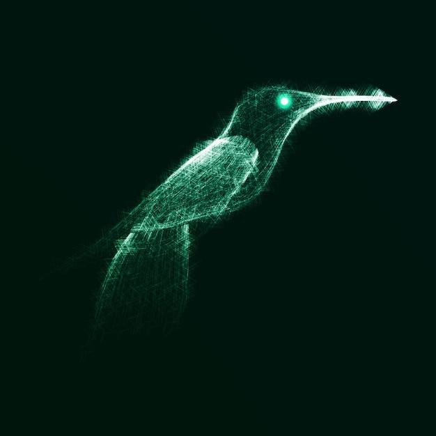 Colibrí de neón, fondo de luces abstractas