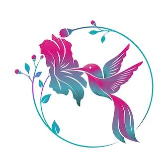 Colibrí pájaro flor tropical logo