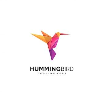 Colibrí volar origami colorido logotipo.
