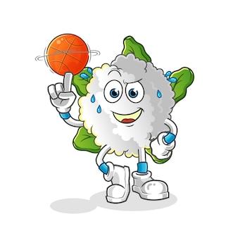 Coliflor jugando baloncesto mascota