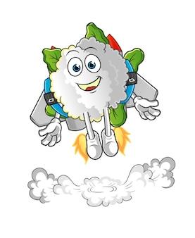 Coliflor con mascota jetpack