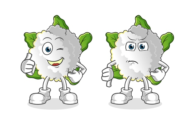 Coliflor pulgares arriba y pulgares abajo dibujos animados