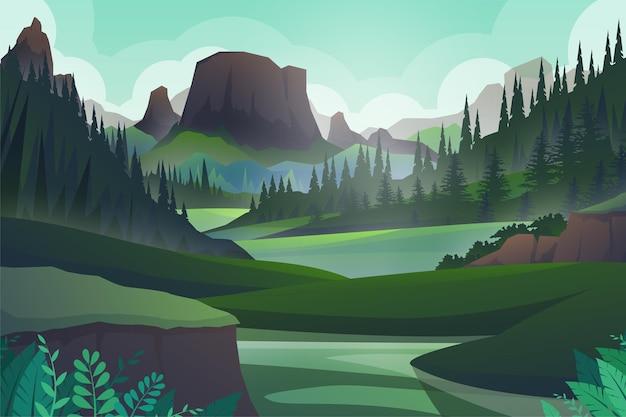 Colina pacífica y árbol forestal y roca de las montañas, hermoso paisaje, aventura al aire libre en verde y silueta, ilustración