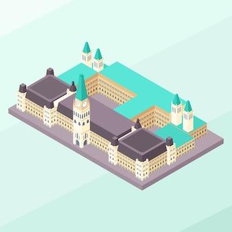Colina del parlamento isométrica de ottawa