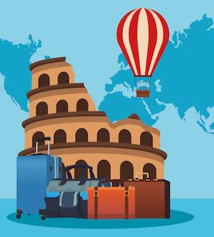 Coliseo de roma con globo aerostático y maletas de viaje