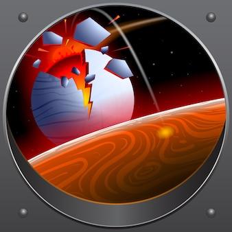 Colisión del asteroide con el planeta. una mirada desde la nave espacial.