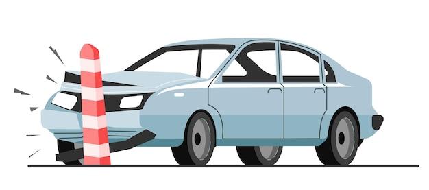 Colisión de coche con limitador de carretera, accidente de tráfico y avería del automóvil. parachoques del vehículo destrozado y deformado. parte aplastada del transporte, auto dañado, desastre en el vector de la carretera en plano