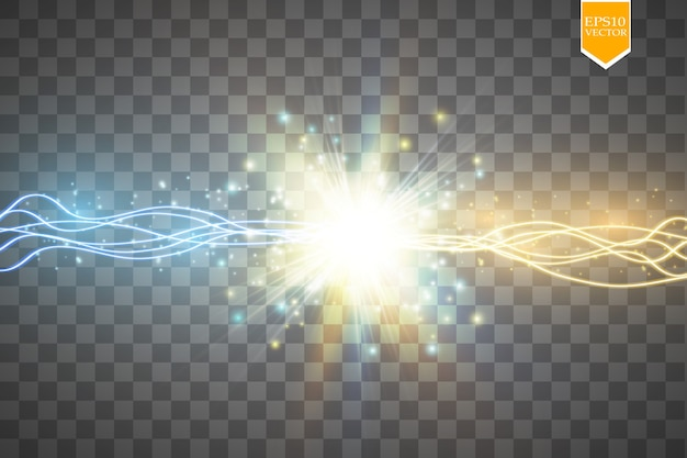 Colisión de dos fuerzas con luz dorada y azul.