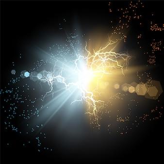 Colisión de dos fuerzas de plasma mágico azul y dorado.