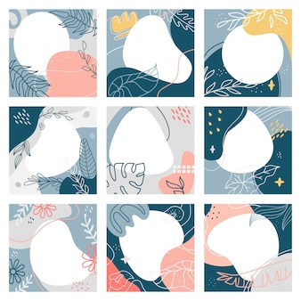 Collage abstracto de publicaciones sociales. plantilla de publicación de redes sociales de moda cuadrada, conjunto de ilustración de diseño de publicación de marketing abstracto moderno. portada de collage, cuadrado de foto de volante para publicación