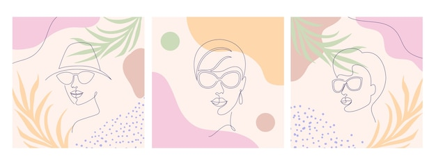 Collage con caras de mujeres y hojas. estilo de dibujo de una línea.