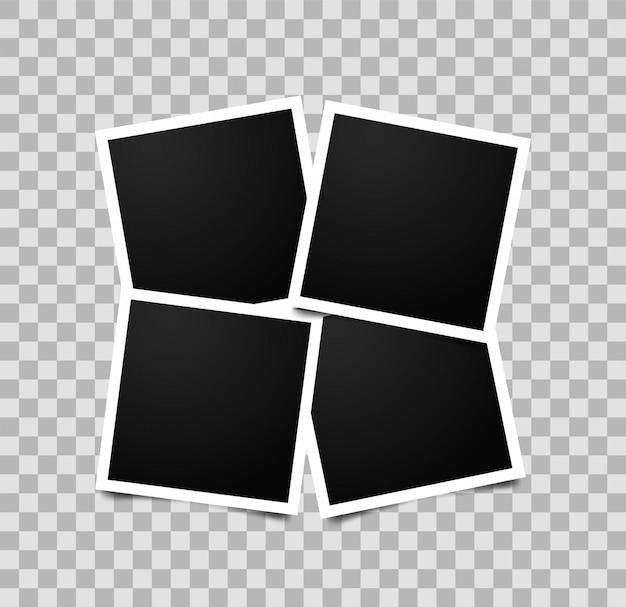Collage de cuatro marcos de fotos vacíos. plantilla de marco de foto vacío retro.