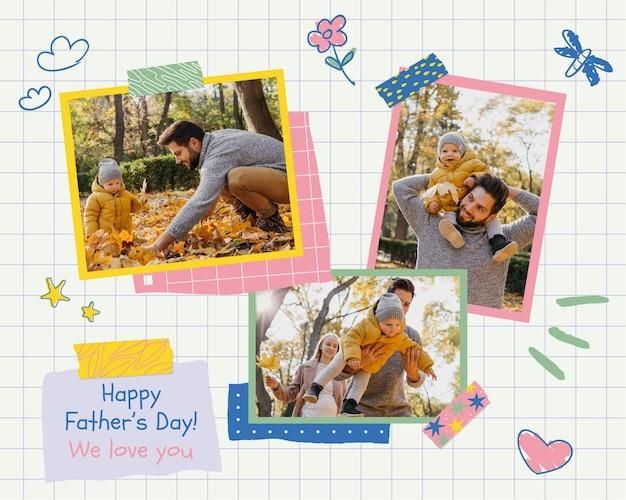 Collage fotográfico creativo del día del padre infantil.