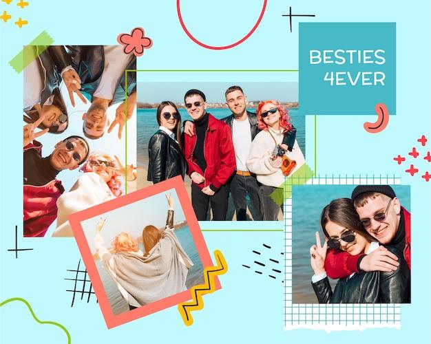 Collage de fotos de álbum de recortes de amistad creativa