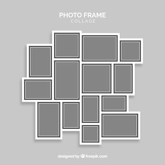Collage gris de marcos de fotos