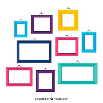 Collage de marcos de fotos coloridos con diseño plano