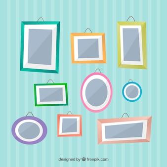 Collage de marcos de fotos con diseño plano