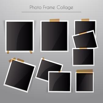 Collage de marcos de fotos con estilo realista