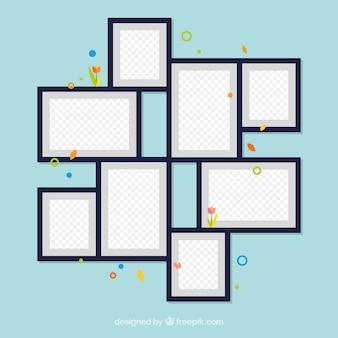 Collage de marcos de fotos flat