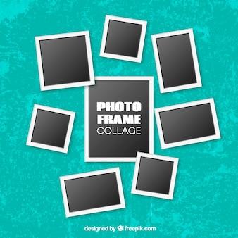 Collage de marcos de fotos instantáneas con diseño realista