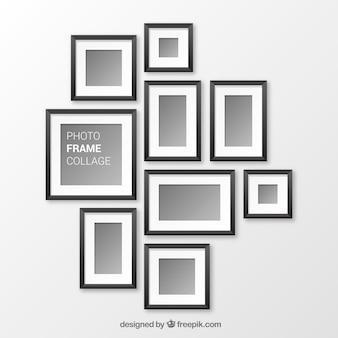 Collage de marcos de fotos negros con diseño realista