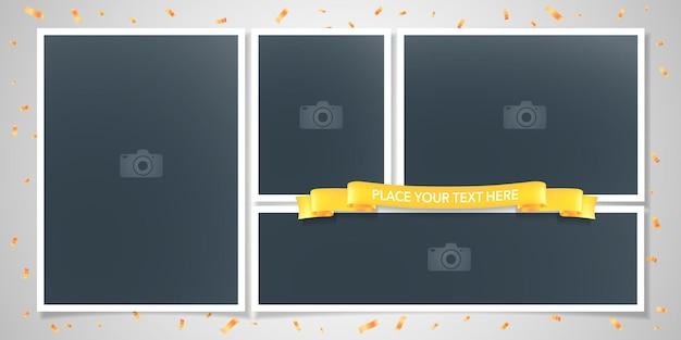Collage de marcos de fotos o álbum de recortes para la ilustración del álbum de fotos