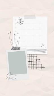 Collage de nota de papel de vector de nota digital con flores