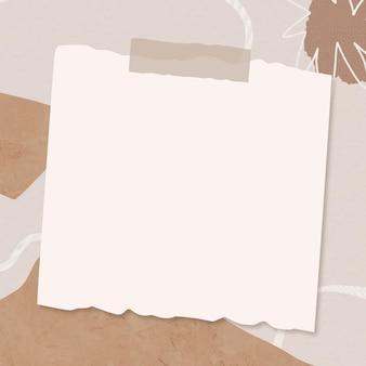 Collage de papel beige de memphis sobre fondo abstracto marrón