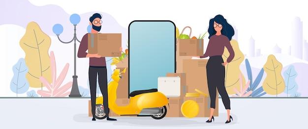 Collage sobre el tema de la entrega. la chica y el chico sostienen cajas. scooter amarillo con estante de comida, teléfono, monedas de oro, cajas de cartón, bolsa de papel.
