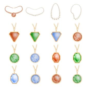 Collar de la cadena de la joyería conjunto de maqueta. ilustración realista de 16 maquetas de cadena de joyería de collar para web