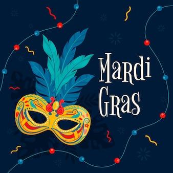 Collar y máscara de carnaval dibujados a mano