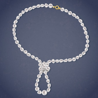 Collar de perlas de agua dulce con lazo.