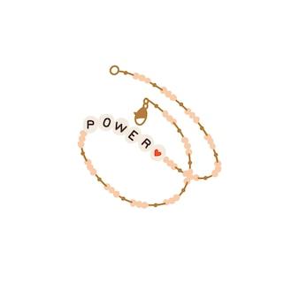 Collar de perlas de ilustración vectorial con letras. accesorio moderno para mujeres jóvenes.