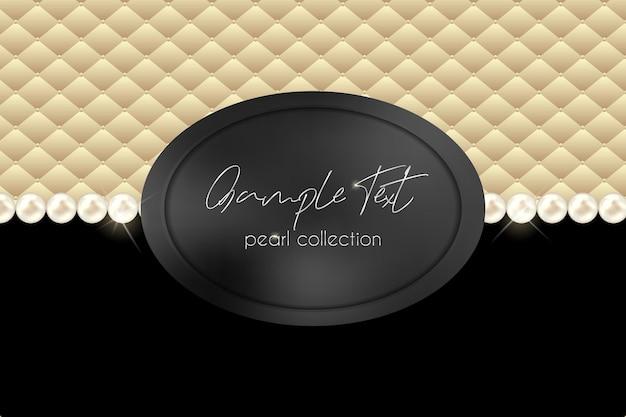 Collar de perlas de vector sobre fondo negro y terciopelo beige cadena de perlas con etiqueta negra