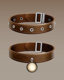 Collar de perro de cuero marrón de vector realista para mascotas aisladas sobre fondo degradado