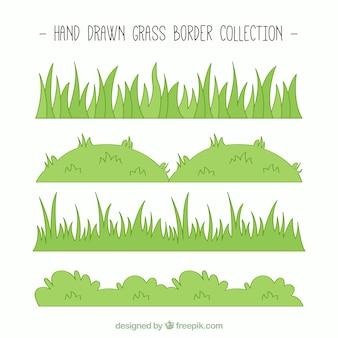 Collección dibujada a mano de bordes de hierba verde
