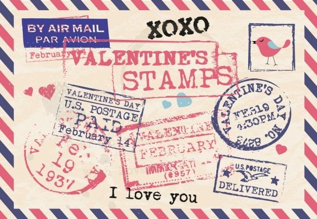 Collección de sellos de san valentin