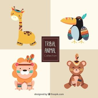 Colleción de animales tribales bonitos