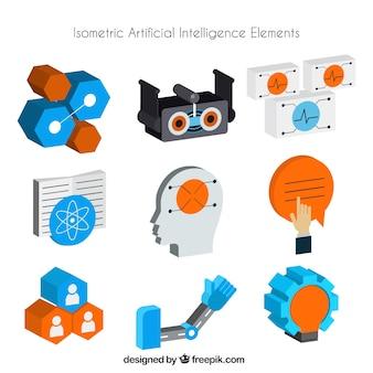 Colleción de elementos de inteligencia artificial en estilo isométrico
