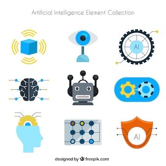 Colleción de elementos de inteligencia artificial en estilo plano