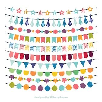 Colleción de guirnaldas multicolor de cumpleaños